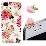 Vandot Ersatzteile Set Weiß Silikon Handyhülle Schutzhülle für Smartphone Apple iPhone 5 5S Floral case Schale Tasche Blume Case Kamelien Hülle Crystal Handy Cover Etui + Rosa 3.5mm Anti Dust Plug Flower Rhinestone Perle Staubschutz Stöpsel - Pink Hell Rosa Blume Mobile Phone Accessory Romantic Romantik Rose Pfingstrose Diamant Strass