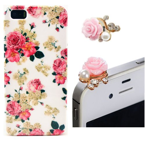 Vandot Phone Mobile Accessory 2In1 For Apple Iphone5 5S 1X Flower Hard Back Cover Case Peony Skin Shell + 1X Metal Flower Camellia Diamond Pearl Anti Dust Plug Earphone Jack Cap Rhinestone Lady Woman - White Pink Romantic Rose