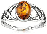 Sterling Silver Amber Celtic Love Knots Ring, Size 9