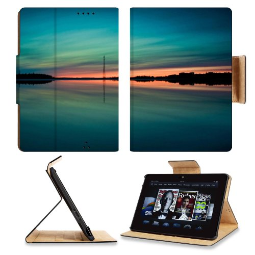 Sunset Reflection Summer Landscape Amazon Kindle Fire Hdx 7 [2013 Version Only] Flip Case Stand Magnetic Cover Open Ports Customized Made To Order Support Ready Premium Deluxe Pu Leather 7 11/16 Inch (195Mm) X 5 11/16 Inch (145Mm) X 11/16 Inch (17Mm) Liil front-950943