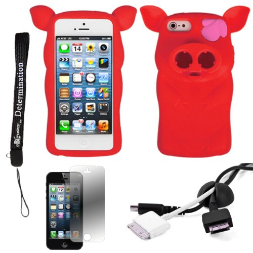 Red Pig Nose Durable Protective Silicone Skin With Earphone Wrap Access For Apple Iphone 5 Ios (6) Smart Phone + Black Cord Organizer + Apple Iphone 5 Screen Protector + An Ebigvalue Tm Determination Hand Strap