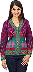 KTC Women's Wool Regular Fit Cardigan (651-V45, Purple Green, 38)