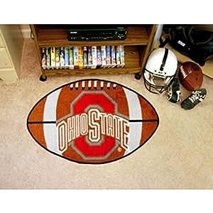 FANMATS Football Shaped Fan Rug - The Ohio State University Buckeyes