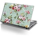 """TaylorHe Skins 15,6"""" Autocollants en vinyle coloré avec motif pour ordinateur portable (38cm x 25,5cm) Laptop Skin fleurs colorées"""