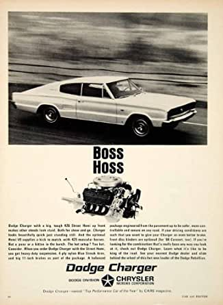 1966 Ad Dodge Charger 2 Door Fastback Muscle Car Boss Hoss 426 Street