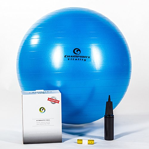 65 Cm Anti Burst Exercise Balance Ball Extra Thick for Fitness, Yoga or Just At Home As an Office Chair at a Desk. Include a Hand Air Pump, Measuring Tape and Replacement Plug.