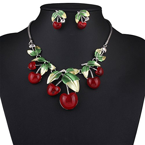 ARICO Cherry Statement Necklace Set Earrings Red Enamel Jewelry Set Resin Crystal Jewelry Sets Leaf NE209 (Kitchenaid Toaster Oven Red compare prices)