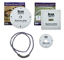Kumihimo Disks Set of Three Different Looms (Round, Square Plate, Mini) PLUS Set of Beading Cord PLUS End Caps