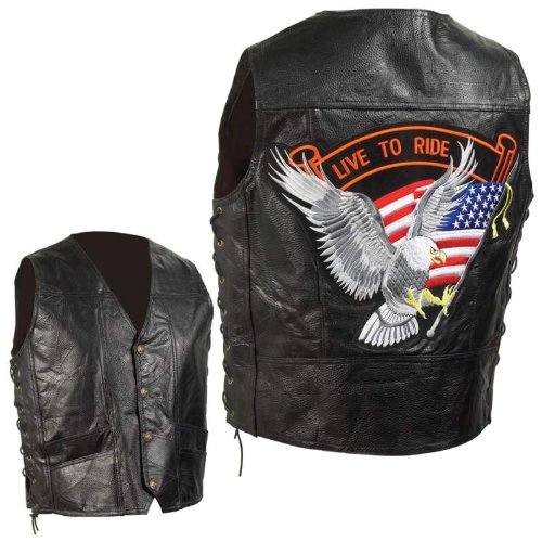 Standout Vests Exclusive Motorcycle Grain Leather Biker Vest-2X Incomparable