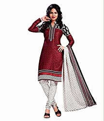 Neerja creation womens cotton Unstiched Dress material(K-1017_Red)