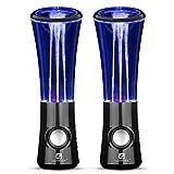 SoundSOUL Dancing Water Speakers LED Speakers Water Fountain Speakers Mini Misic Amplifier(6 Colored LED Lights) - Black