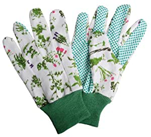 Esschert design usa herb print cotton garden gloves for Gardening gloves amazon