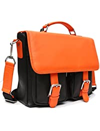 Areeehanz Chic Collection Genuine Premium Leather Messenger Bag In Black With Orange Flap With Four 4 Free Gifts