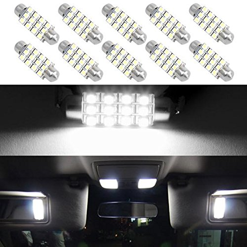 Partsam White 12-3528-SMD 42mm Festoon LED Bulbs Interior Dome Map Reading Lights (Pack of 10) (Interior Part For Tahoe compare prices)