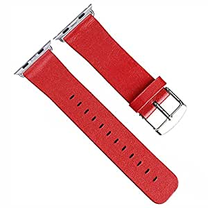 Genuine Leather Watchband Straps for Apple Watch Sports iWatch 2015 Stainless Steel Buckle (42mm/Red)