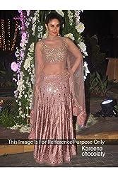 Designer ROSY BROWN NET Bollywood Replica Lehenga Choli.