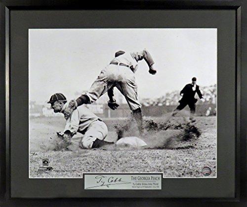 "Detroit Tigers Ty Cobb ""Sliding into Third"" 11x14 Photograph (SGA Signature Series) Framed"