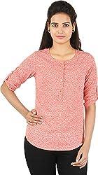 Amadeo Women's 3/4 th Sleeve Top (KRISHA30, Coral , Small)