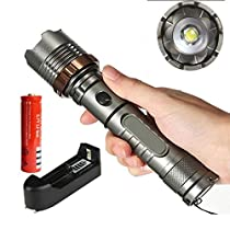 Cree XML T6 3000lm LED Zoomable Flashlight+18650battery+charger