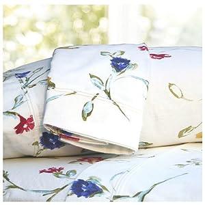 Tribeca Living Twin Floral Garden Printed Extra Deep Pocket Flannel Sheet Set