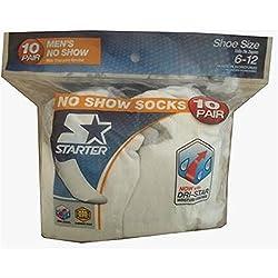 Starter Men's No Show Socks White 10 Pair - Sizes 6-12