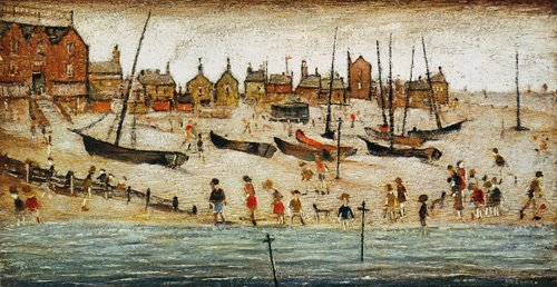 LS Lowry Art Print, The Beach (50 x 86cm Art Prints/Posters)