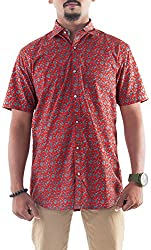 Passion Men's Slim Fit Casual Shirt (FS4814XLRDHS, Red, X-Large)
