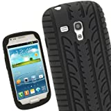 iGadgitz Black Silicone Skin Case Cover with Tyre Tread Design for Samsung Galaxy S3 III Mini I8190 Android Smartphone Mobile Phone + Screen Protector