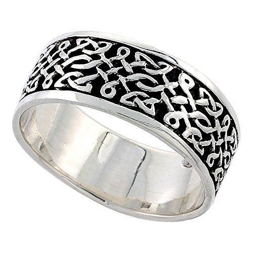 Sterling Silver Celtic Knot Flat Wedding Band Thumb Ring 5/16 Inch Wide, Size 10.5