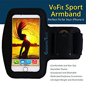 """[TOP RATED] iPhone 6, 6s 4.7 Armband - VoFit By EnnoVoTech- Sport Armband Case for iPhone(6 & 6s 4.7"""" , 5 and 5s) And iPod with Key Holder Pocket, Fully Adjustable, Easy Earphone Connection, best for Gym, Sports Fitness, Running, All Kinds of Workouts - f"""