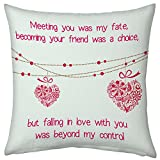 Valentine Gifts for Boyfriend Girlfriend Love Printed Cushion 12X12 Filled Pillow White Fall in Love Heart for Admirer