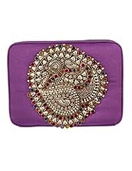 Voylla Voylla Stunning Purple Clutch With Colourful Stone Embellishments