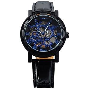 AMPM24 Fashion Mechanical Analog Skeleton Blue Dial Mens Sport Leather Wrist Watch PMW030