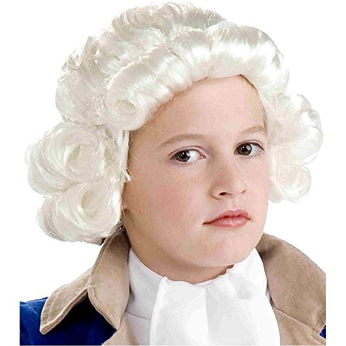 White Colonial Boy Kids Wig - One Size