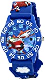 Disney Kids' W001528 Time Teacher Planes Watch with Blue 3-D Plastic Band