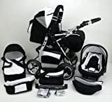 3 in 1 Travel System All in One Set VIP - incl. Pram, Car Carrier Seat and Sport Buggy - 1. ALU Design Hard Rubber Tires - 26. Red-Circuits