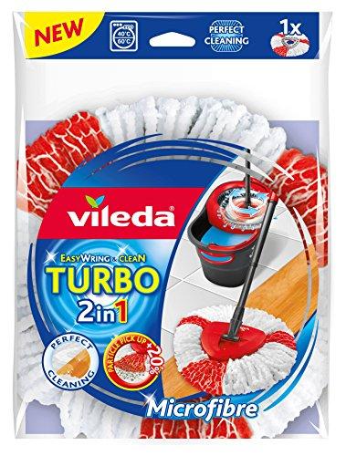 Vileda Turbo Tête de balai serpillère 2 en 1 en microfibre facile à essorer et à nettoyer