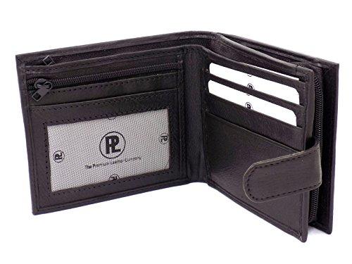 Da uomo a mano in pelle morbida con cerniera portamonete portafogli con finestra per ID Made in Italy, Nero (nero), Medium