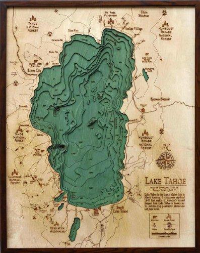 Lake Tahoe 3-D Nautical Wood Chart, 24.5