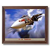 F-14 Tomcat Military Fighter Jet Aircraft Airplane Aviation Wall Picture Cherry Framed Art Print