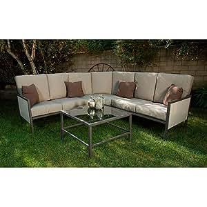 Soho 4 piece outdoor sectional sofa seats 5 for Sofa exterior amazon