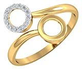 Kuberbox 14k (585) Yellow Gold and Diamond Twin Circles Open Ring