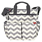 Skip Hop Baby Duo Signature Diaper Bag with Convertible Shoulder-to-Stroller Shuttle Clips and Cushioned Changing Mat, 10 Pockets, Chevron