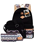 Leaper Causal Style Lightweight Canvas Laptop Bag School Backpack + Shoulder Bag + Purse Pen case (Large, Black, 3pcs)