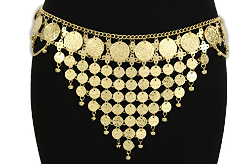 TFJ Women Fashion Metal Belt Hip Waist Drape Chains Coins Belly Dancing S M L Gold