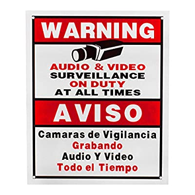 BV-Tech SIGN-C-5 Best Vision Security Surveillance Warning Sign 5-Pack - Plastic - Outdoor (White)