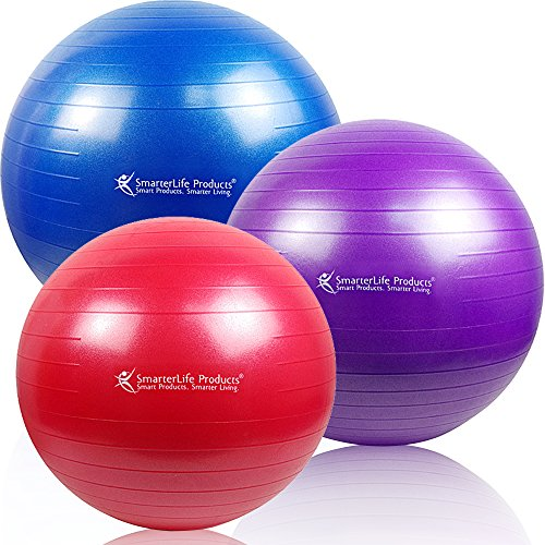 SALE -- SmarterLife Products Premium Exercise and Stability Ball - #1 for Fitness, Weight Loss, Core Strength, CrossFit, Yoga & Pilates (Red, 55 cm)