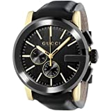 Gucci G- Chrono Collection Men's Quartz Watch with Black Dial Chronograph Display and Black Leather Strap YA101203