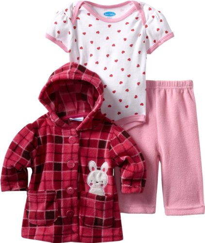 Bon Bebe Baby-Girls Newborn Plaid Bunny 3 Piece Fleece Jacket And Pant Set, Strawberry Plaid, 0-3 Months front-444658