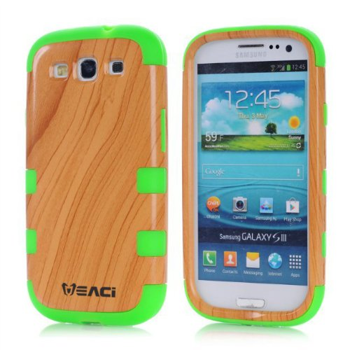 Meaci Samsung Galaxy S3 I9300 Case Hard Soft Wood-Plastic Composite&Silicone Combo Hybrid Defender Bumper (Green)